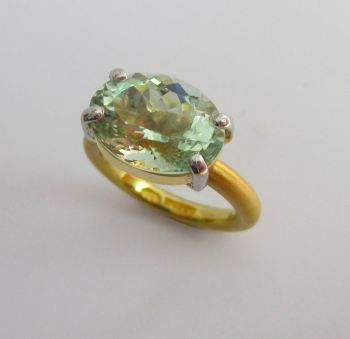 Green Blue Prasiolite 22ct Gold And Platinum Ring