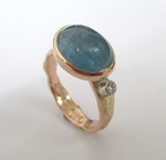 Rose Gold Rustic Organic Ring With Aquamarine And Diamond
