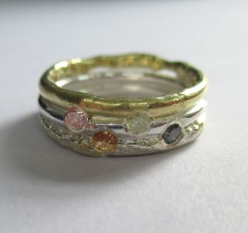 Natural Coloured Diamond Band