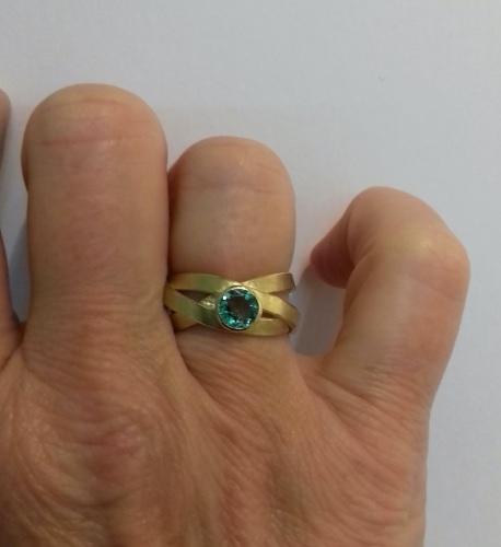 blue green tourmaline on hand