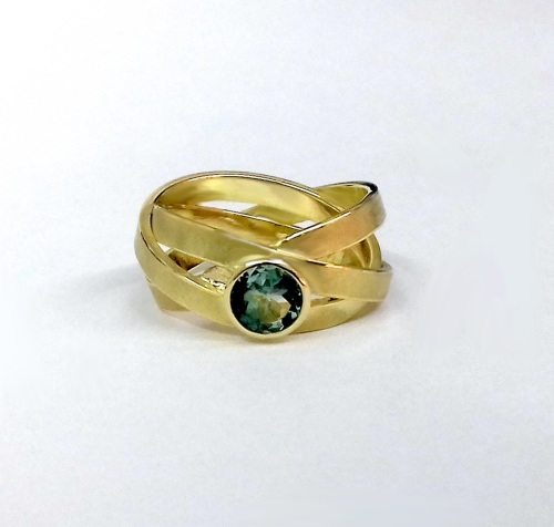 blue green tourmaline wrapped ring