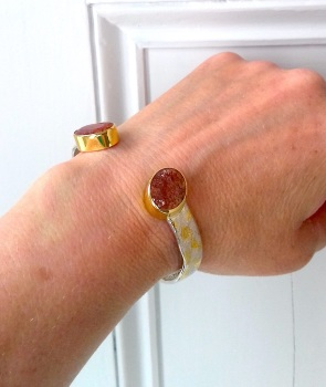 gold and silver sunstone bangle with keum-boo