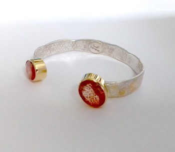 solid silver and gold bangle
