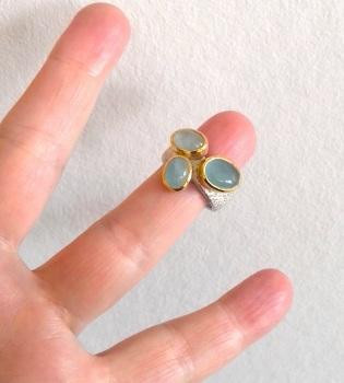 Bespoke 22k sterling silver and Aquamarine ring