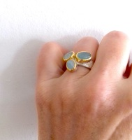 Hand made Aquamarine silver and 22ct gold ring