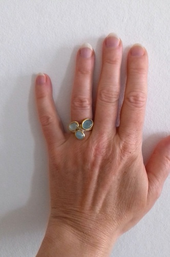 Hand made bespoke silver and 22k ring with cabochon Aquamarine