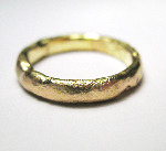9k yellow gold 4mm wide textured rustic organic wedding ring