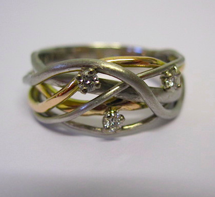 3 Diamond Squiggle Ring in Palladium and 18ct Gold