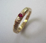 9k yellow gold 4mm organic textured Ruby ring