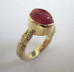 Yellow Gold Cabochon Ruby Rustic Organic Ring