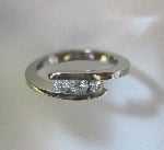 18ct White Gold 3 Diamond Tension Set Ring