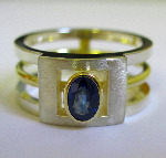 18ct Yellow Gold And Sterling Silver Architect Ring Set With A Blue Sapphire