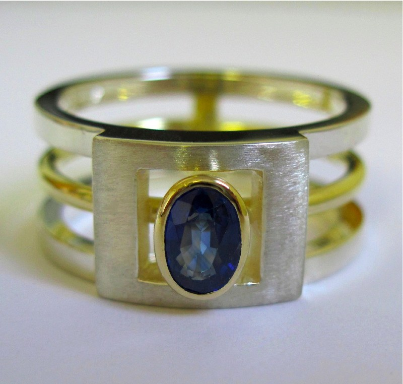 Sapphire Silver And 18ct Yellow Gold Architect Ring