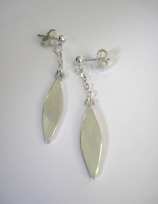 silver leaf shape drop earrings