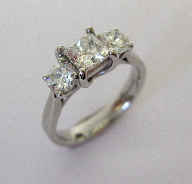 princess and brilliant cut diamonds