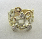 18ct White And Yellow Gold Honeycomb Ring With Large Diamonds