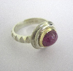 9ct White Gold And Pink Cabochon Sapphire Ring