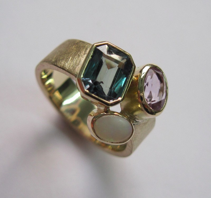 Topaz Tourmaline And Opal Dress Ring