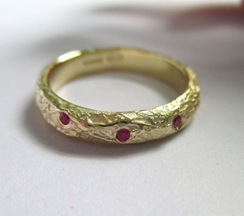 rustic organic band with rubies