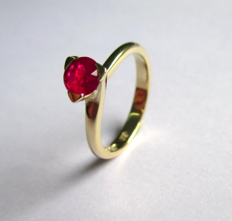 Ruby And 18ct Yellow Gold Engagement Ring
