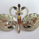 Sapphire Ruby And Balck Diamond Swan Brooch In Sterling Silver And Gold.