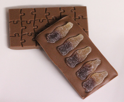 Naughty Milk Chocolate Bar with Cola Bottles