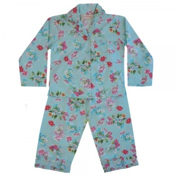 NEW - Girls Blue Floral Cotton Pyjamas