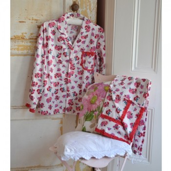 Bessie - Ladies Traditional Cotton Red Rose Floral Pyjamas
