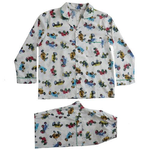 Mens Tractor Pyjamas - Traditional Style pyjamas in a vintage tractor fabric