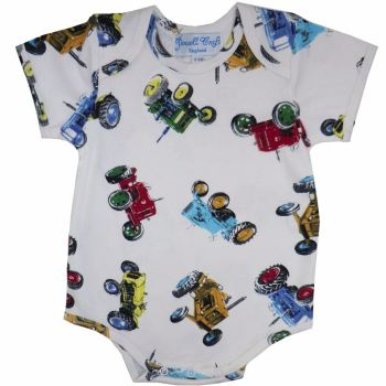 Baby Boys Vintage Tractor Design Bodysuit - Short sleeves