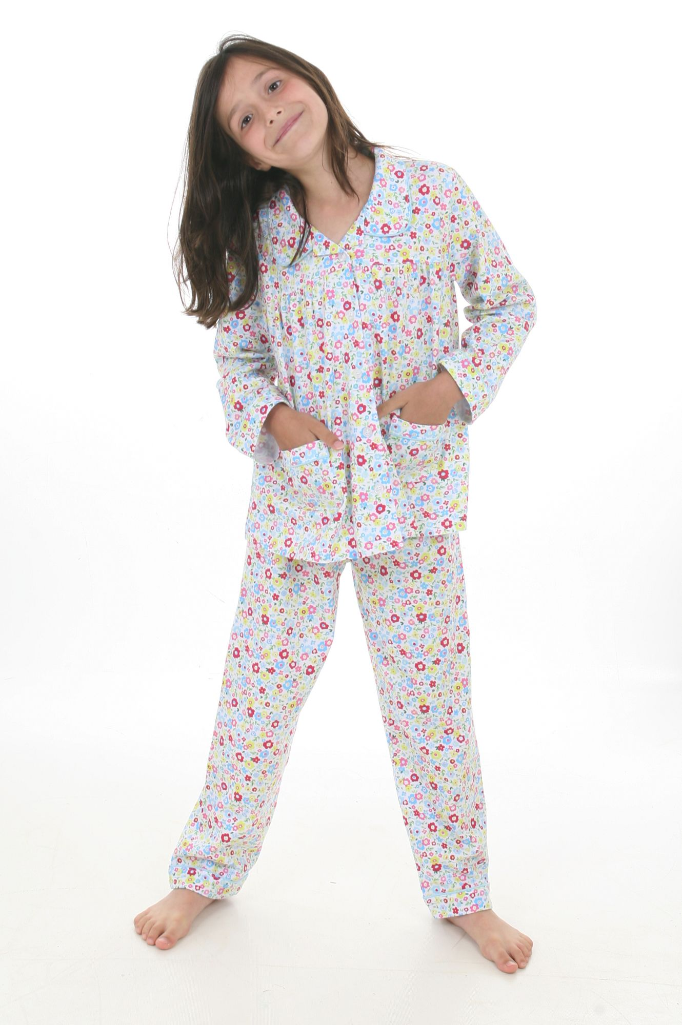 Traditional Ditsy Floral Soft Jersey Cotton Girls Pyjamas