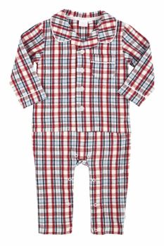 Baby Boys Mock Pyjamas - Traditional Red Check