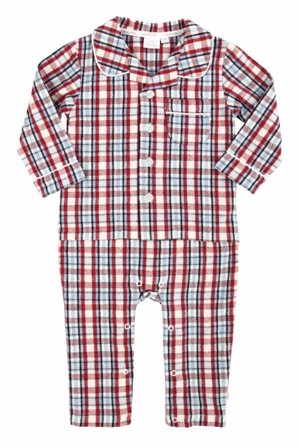 NEW - Baby Boys Mock Pyjamas - Traditional Red Check