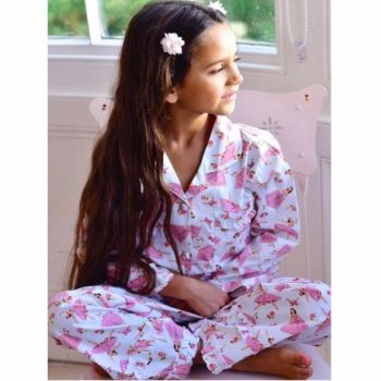 Girls Traditional Style Cotton Ballerina Pyjamas