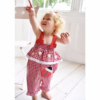 Powell Craft Red Gingham Ladybird Romper