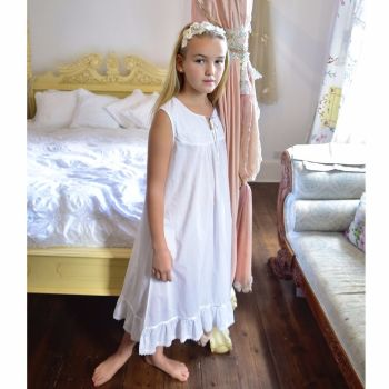 Sleeveless White Cotton Nightdress - Georgia