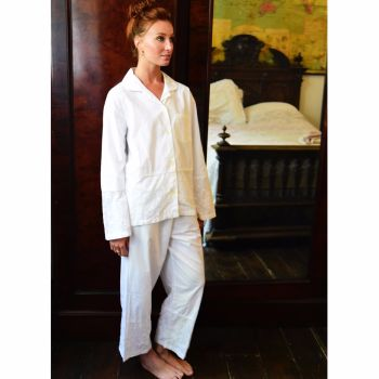 Julia - Ladies Traditional White Cotton Embriodered Pyjamas