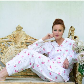Ladies Traditional Cotton Floral Pyjamas - Katie