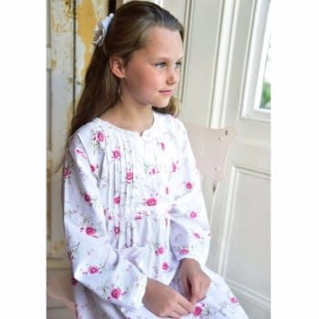 Girls Vintage Rose Floral Long Sleeved Cotton Nightdress - Jenny