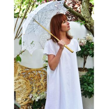 NEW - Viola Short Sleeved White Cotton Nightdress