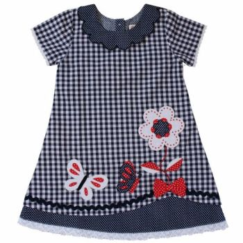 Girls Blue Gingham Butterfly Summer Cotton Dress