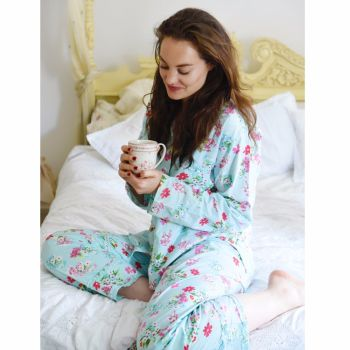 NEW - Ladies Blue Floral Cotton Pyjamas