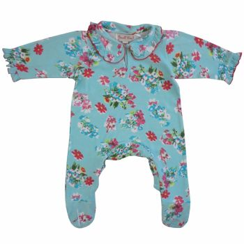 Baby Girls Blue Floral Babygro/Jumpsuit - Powell Craft