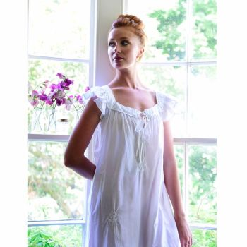 NEW - Margo - Ladies White Cap Sleeved Cotton Nightdress