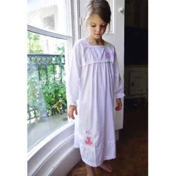 Girls Cotton Long Sleeved Nightdress with Mouse applique - Giselle  - by Powell Craft