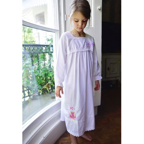 Girls Long Sleeved Cotton Nightie Nightdress With Mouse