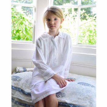 Long sleeve white cotton nightdress - Sylvie