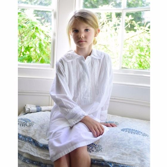 Girls White Cotton Long Sleeve Nightdress Charlotte