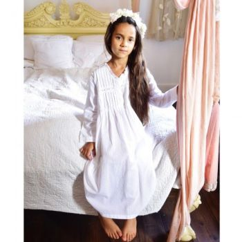 White Cotton Long Sleeve Girls Nightdress - Charlotte