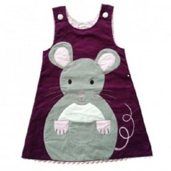 Girls Mouse Applique Cord Pinafore Dress